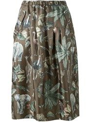 Muveil Jungle Print Midi Skirt Green