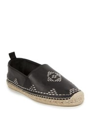 Saint Laurent Embellished Stitch Leather Espadrille Flats Black