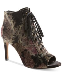 Nanette Lepore By Halle Lace Up Peep Toe Booties Women's Shoes Black Floral