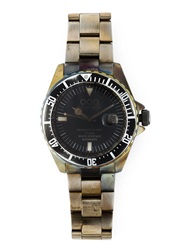 Out Of Order Distressed Round Face Watch Black
