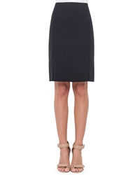 Akris Double Face Wool Skirt Navy