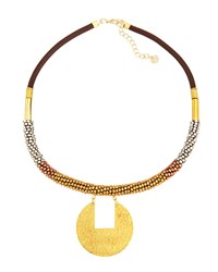 Nakamol Mixed Metal And Leather Beaded Pendant Necklace Gold Multi