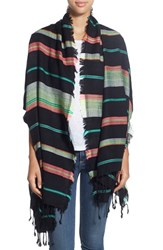Women's Collection Xiix Stripe Beach Wrap Black Black Bright