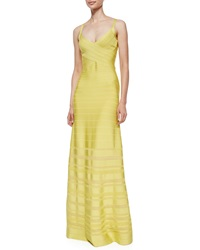 Herve Leger V Neck Bandage Gown With Pointelle Insets