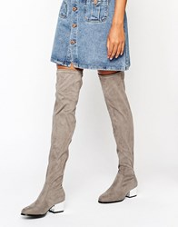 London Rebel Over The Knee Boots With Electroplated Heel Grey