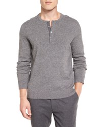 Vince Cashmere Long Sleeve Henley Sweater Heather Steel H. Steel