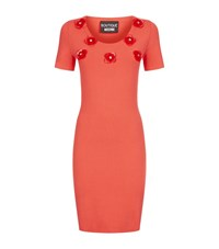 Boutique Moschino Crystal Flower Applique Body Con Dress Female Pink