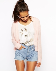 Wildfox Couture Wildfox Grandad Cardigan With Back Applique Logo Pink