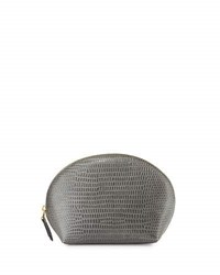 Neiman Marcus Embossed Large Dome Cosmetic Bag Grey Iguan