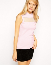 Asos Knitted Tank With Sheer Insert Palepink