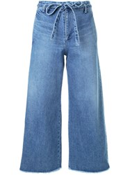 Fabiane Roux Cut Off Wide Cropped Jeans Blue