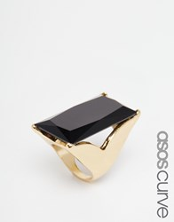 Asos Curve Statement Rectangle Stone Ring Black