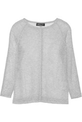 Magaschoni Open Knit Cashmere Sweater Gray