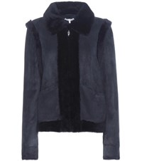 Ganni Scott Suede And Shearling Jacket Blue