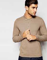 Asos Long Sleeve Polo Shirt In Pique Brown