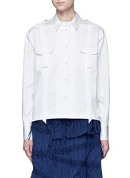 Angel Chen Pleated Hem Grosgrain Ribbon Utility Shirt White