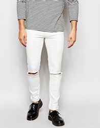Cheap Monday Exclusive Jeans Tight Skinny Fit White Ripped Knee
