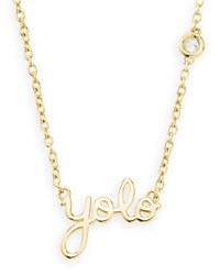 Gold Yolo Pendant Bezel Diamond Necklace Shy By Sydney Evan