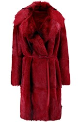 Donna Karan Belted Shearling Coat Red