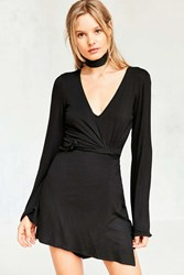 Silence And Noise Bell Sleeve Wrap Skort Romper Black