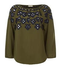Tory Burch Leyla Embroidered Off Shoulder Top Female Green
