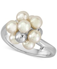 Majorica Silver Tone Imitation Pearl And Metallic Bead Cluster Ring