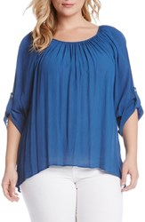 Plus Size Women's Karen Kane Roll Sleeve High Low Hem Gauze Peasant Top Marine Blue