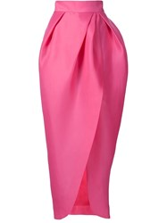 Monique Lhuillier Structured Ruched Maxi Skirt Pink And Purple