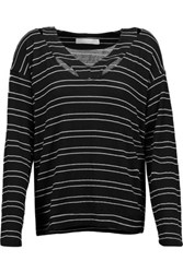 Kain Label Etta Cutout Striped Stretch Modal Sweater Black