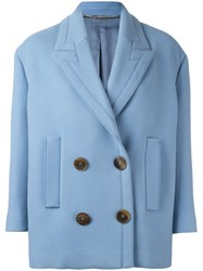 Alexander Mcqueen Double Breasted Peacoat Blue