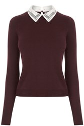 Oasis Embroidered Collar Knit Burgundy