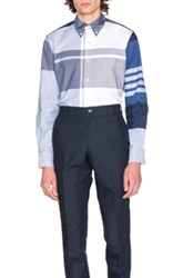 Thom Browne Oversized Plaid Oxford Shirt In Blue Checkered And Plaid Blue Checkered And Plaid