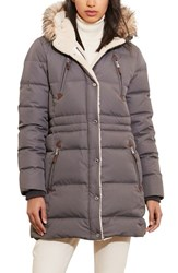 Lauren Ralph Lauren Women's Faux Fur Trim Down And Feather Fill Parka Grey