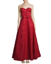 Michael Kors Strapless Bustier Floral Embroidered Gown Crimson Women's
