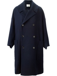 Henrik Vibskov Double Breasted Coat Blue
