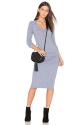 Monrow V Neck Baseball Dress Grey