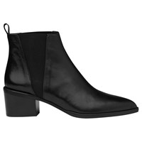 Whistles Belmont Pointed Toe Block Heeled Ankle Boots Black Leather