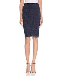 Aqua Zigzag Lace Pencil Skirt Navy