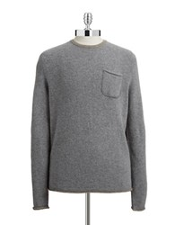 Black Brown Woven Crewneck Sweater Medium Grey
