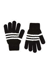 Forever 21 Fuzzy Striped Gloves Black White