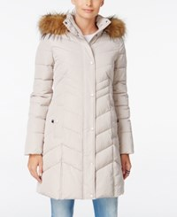 Tommy Hilfiger Faux Fur Trim Hooded Quilted Puffer Coat Champagne