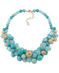 Carolee Gold Tone Blue Bead Cluster Necklace