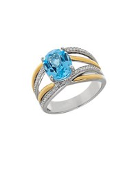 Lord And Taylor Blue Topaz Sterling Silver 14K Yellow Gold Crisscross Ring