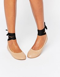 London Rebel Tie Up Ballerina Nude Beige