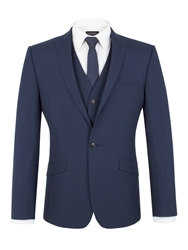 Limehaus Houndstooth Peak Collar Slim Fit Suit Jacket Navy