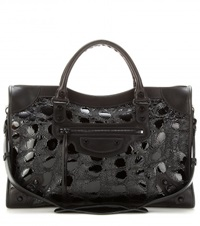Balenciaga Classic City Embossed Patent Leather Tote Black