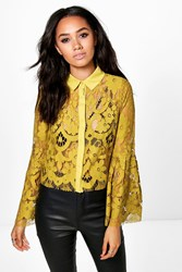 Boohoo Maya Lace Bell Sleeve Crop Shirt Lime