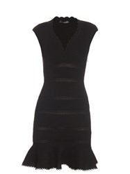 Alexander Mcqueen Cap Sleeve Cotton Blend Peplum Dress