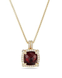 David Yurman Chatelaine Pave Bezel Pendant Necklace With Garnet And Diamonds In 18K Gold Red Gold