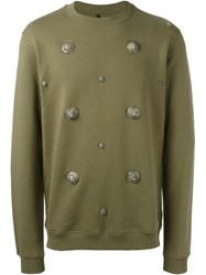 Versus Embelished Crew Neck Jumper Green